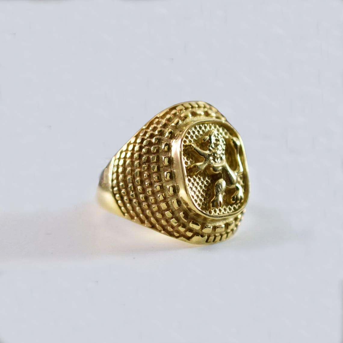 Lion of Judah Ring Sterling Selling and selling Men's Max 41% OFF Gold Lio Silver Jewish