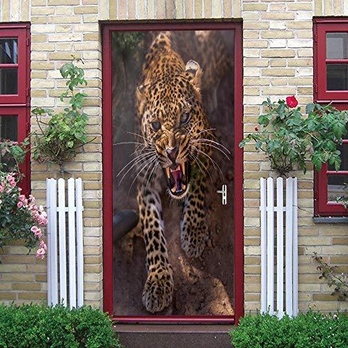 SPSPKZ Door Art Mural Pegatinas Puerta Foto Poster Puerta Pared Niños Cuarto Baño Cocina Sala Escalera Autoadhesivas Vinilo Impermeable Leopardo Animal Arte Moderno Decoración Hogar 77X200Cm