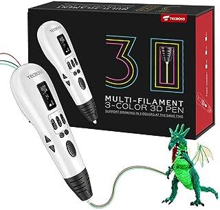 Pluma de impresión 3D, Tecboss 3D Pen con 3 Puertos de Alimentación,Pantalla LCD Lleva Muti Filamentos 1.75mm, Compatible con filamento ABS/PAL para Niños y Adultos como Regalo