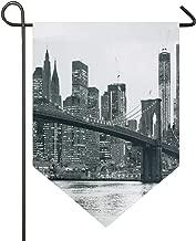AMONKA Brooklyn Bridge Sunset con Manhattan American New York City Famous Town Garden Bandera de poliéster de Doble Cara para casa decoración al Aire Libre 12 x 18.5 Pulgadas, poliéster, 12x18.5 Inch