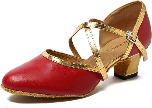 ZHRUI schuhe de Baile de damen (Farbe   Burgundy Gold-5cm Heel, tamaño   4.5 UK)