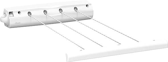 Vileda Rewind 4 Retractable Washing Line Airer, White, 6.5 x 6.5 x 37 cm