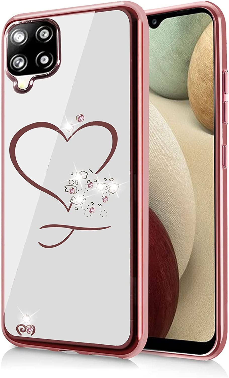 Flying Flier for Samsung Galaxy A12 Case Samsung A12 Case Bling Crystal Rhinestone Slim TPU Glitter Cover Electroplate Bumper Protective Phone Case for Samsung Galaxy A12 5G & 4G