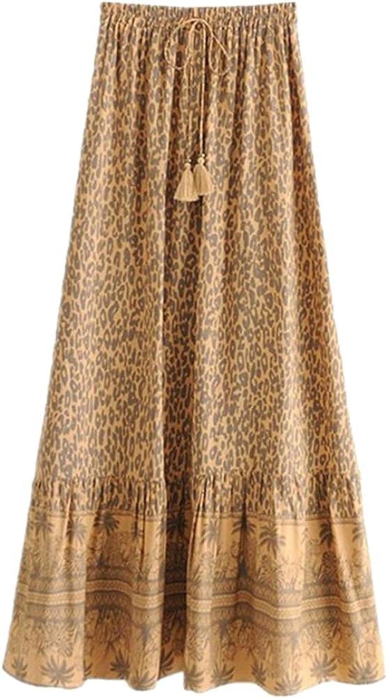 CHIC&TNK Floral Print Long Skirt Spliced Ruched Ruffle Hem Hippie Women Tassel Tie Bow Swing Skirts Holiday Beach
