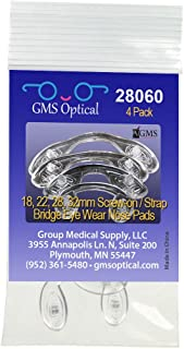 GMS Optical Bridge Strap Screw-in Silicone Nose Pads for Eyeglasses (Pack of 4) One of Each Size - 18mm, 22mm, 28mm, 32mm
