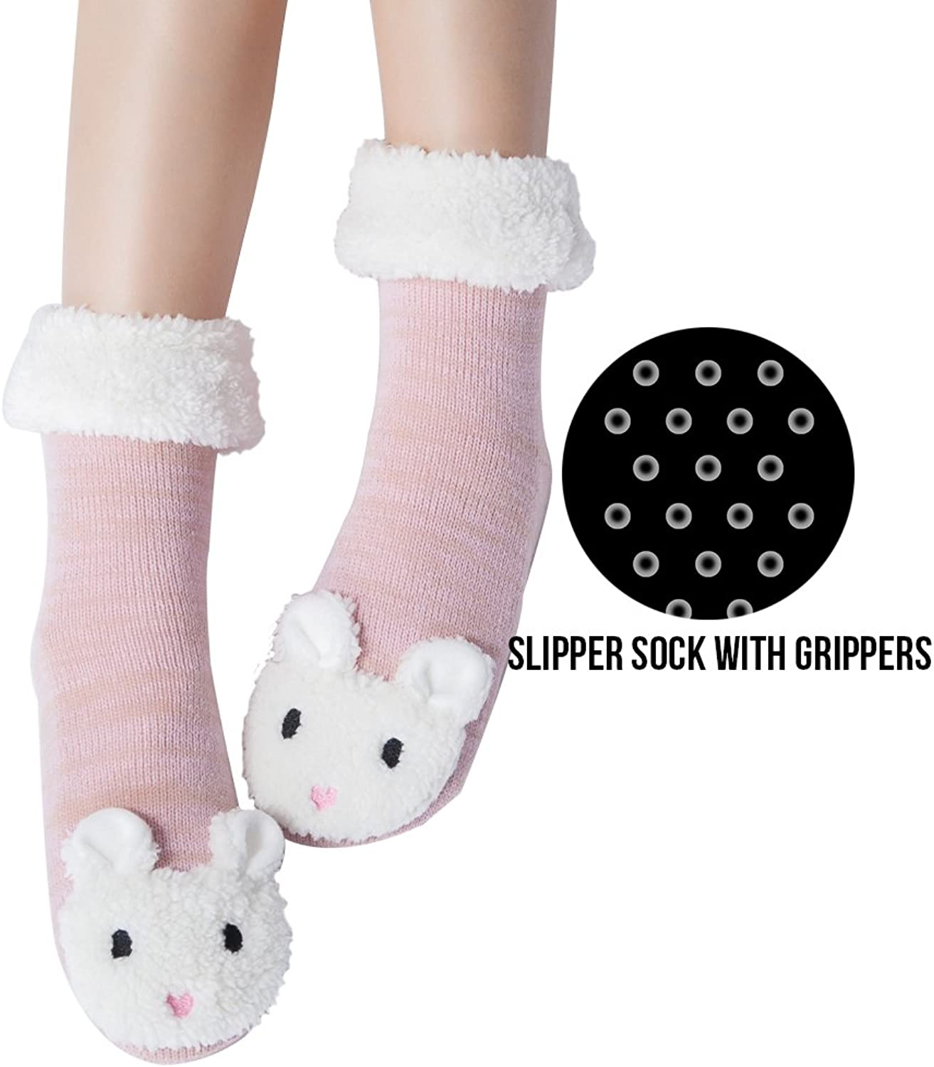 Womens Christmas Fuzzy Slipper Sock Ladies Warm Funny Cable Knit Socks With Grips