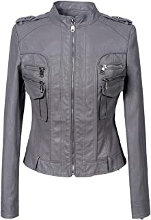 DISSA PSD197 Women Faux Leather Bomber Jacket Slim Coat Leather Jacket
