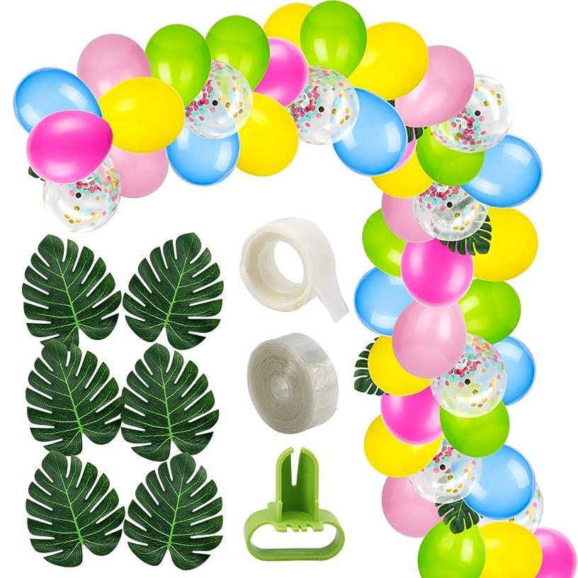 Hawaiian Party Decorations - Yamissi 50 PCS DIY Balloons Garland with 10 PCS Colorful Confetti Balloons for Hawaii Luau Party Supplies | Hawaii Flamingo Tropical Themed Party Supplies