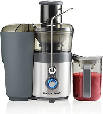 "Hamilton Beach Premium Juicer Machine, Big Mouth 3"" Feed Chute, Centrifugal, Easy Clean, 2-Speeds, BPA Free 40 oz Pitcher, 850W, Silver (67850)"