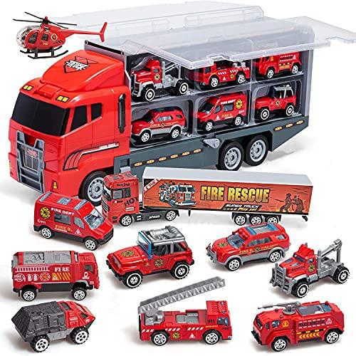Coolplay Feuerwehrauto Groß Autotransporter Spielzeug Einsatzfahrzeug Kinder Autos Spielzeug Set für ab 3 Jahre Junge