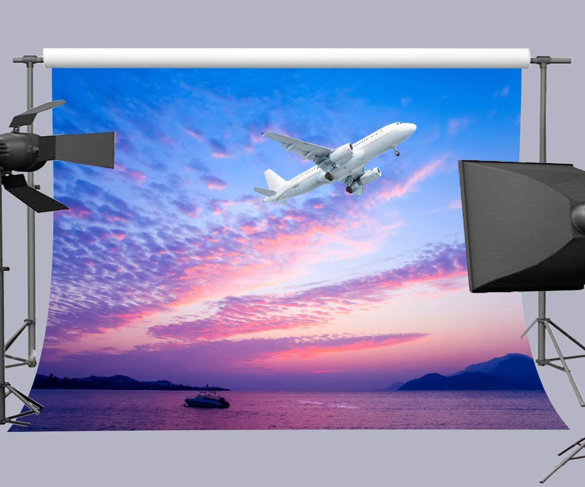 15x10ft Background Sky Airplane Photography Backdrop Travel Stuido Photo Props LYFU028
