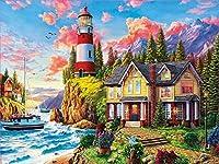 風景海辺の灯台DIY装飾画像フルダイヤモンド絵画セット5Dフルダイヤモンドダイヤモンド刺繡番号付き家の壁の装飾(正方形40x50cm)