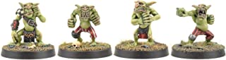 War World Gaming Gutrot Greenskins Set of 4 Linemen - 28mm Scale Fantasy Football Miniature Mini Figure Goblin for Blood Bowl, Paintable Collectible, Painting