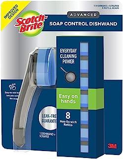 Scotch Brite Advanced Soap Control Dishwand and Scraper, 8 Non-Scratch Refills