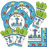 Unbekannt 48-teiliges Party-Set 1. Geburtstag Junge Birthday Boy - Teller Becher Servietten für 16 Kinder/Personen
