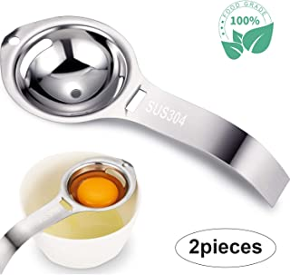 Egg Separator,2 piece SUS304 Stainless Steel Egg Separator,Egg White Separator and Egg Yolk Filter Separator with HandleKitchen Gadget Cooking/Baker Tool Egg Extractor (Silver)