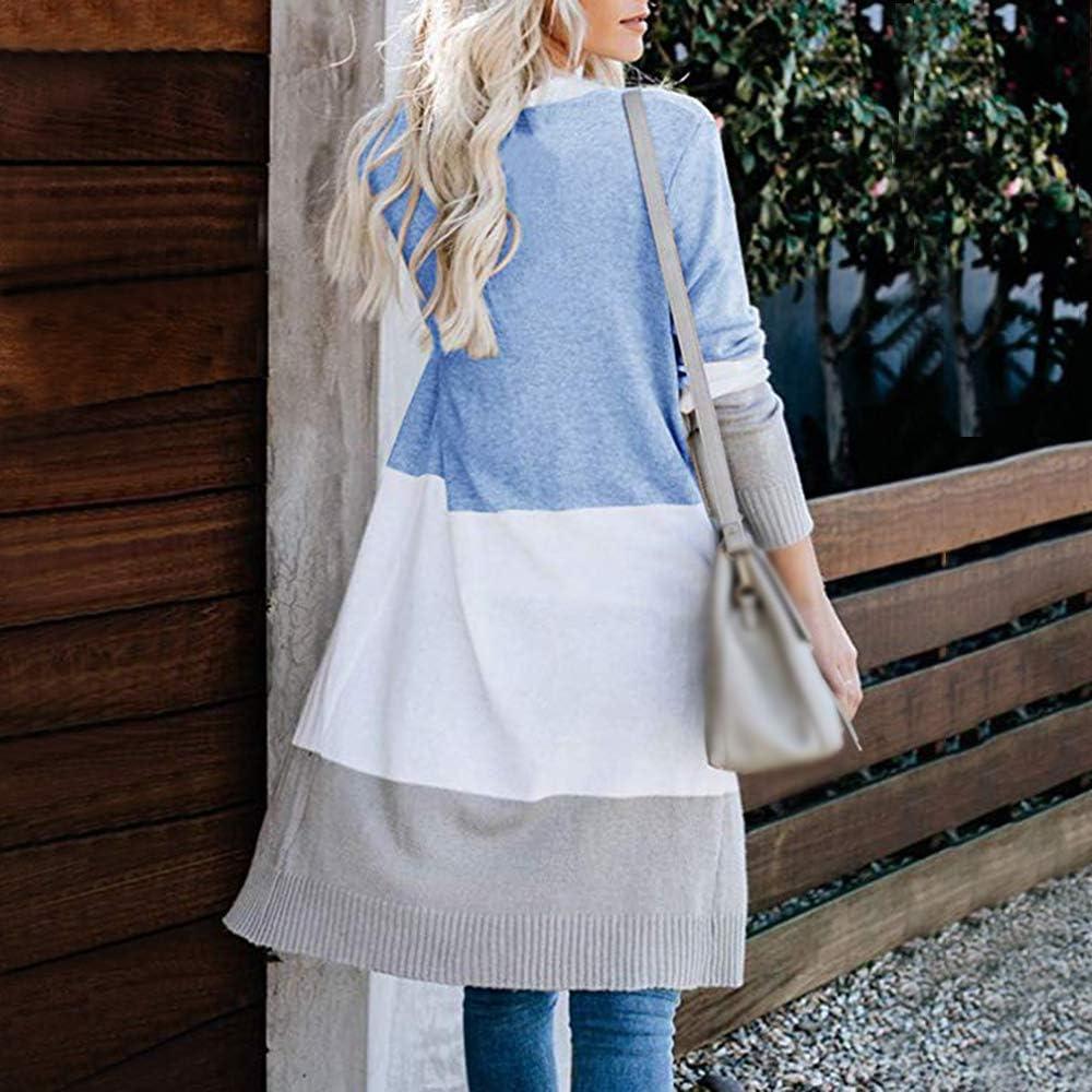 Vertvie Damen Mantel Langarm Open Front Cardigan Strickjacke Asymmetrisch Schnitt Strickmantel Langshirt mit Taschen W-blau
