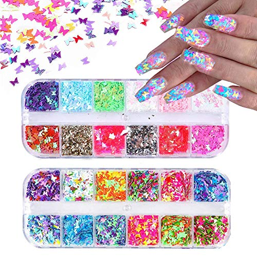 24 Color/Set 3D Butterfly Nail Glitter Sequins, Kalolary Laser Butterfly Nail Sequin Flake Acrylic Manicure Paillettes Face Body Lip Glitters for Nail Art Decoration Resin Mold DIY Makeup