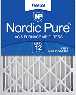 Nordic Pure 20x25x4 (3-5/8 Actual Depth) MERV 12 Pleated AC Furnace Air Filters, Box of 2