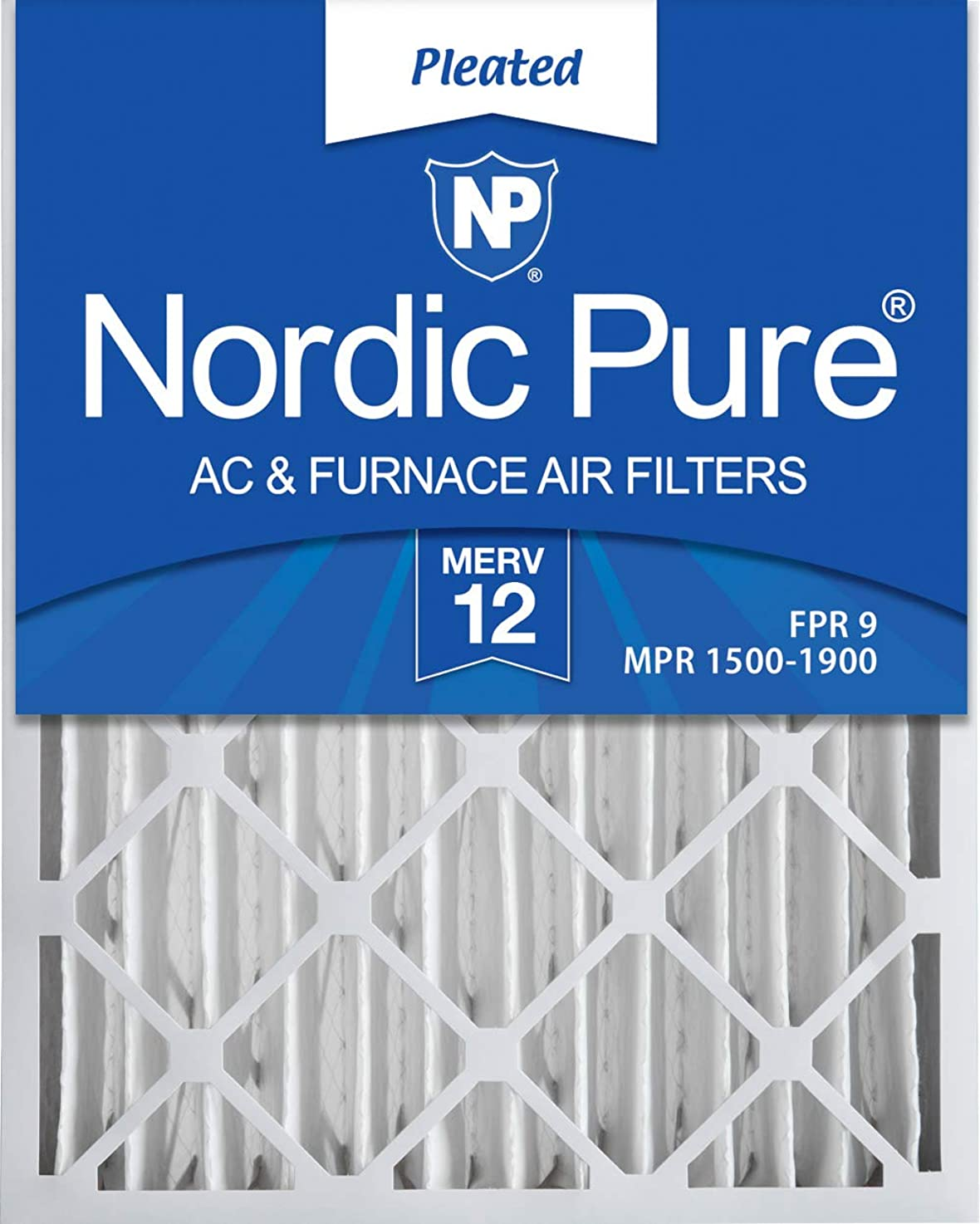Nordic Pure 16x25x4M12-2 MERV 12 Pleated AC Furnace Air Filters, 16x25x4, 2 Pack ermykebkfnwlc1