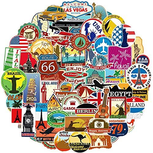 Ausikou Pegatinas de Mapas de Viaje 100 Piezas, Pegatinas de Vinilo para Casco de Portátil, Motocicleta, Monopatín, Coche, Bicicleta, Graffiti Stickers