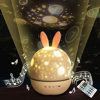 オルゴールプロジェクター スターナイトライト btスピーカー 星空360度回転6種類投影映画 間接照明 ランプカラフルな点滅スターキッズベビーギフトクリエイティブギフト誕生日プレゼント(リモコン)