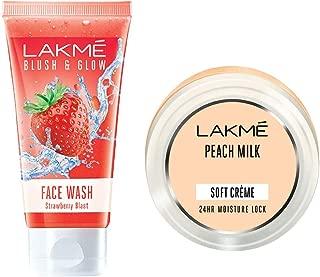Lakmé Blush and Glow Strawberry Gel Face Wash, 100g & Lakmé Peach Milk Soft crème, 150 g