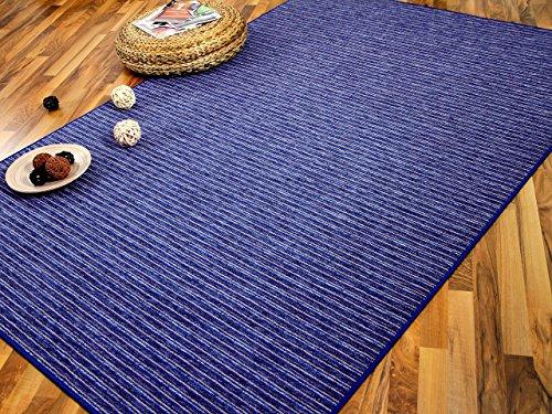 Snapstyle Streifenberber Teppich Marta Blau Beige Streifen in 24 Größen