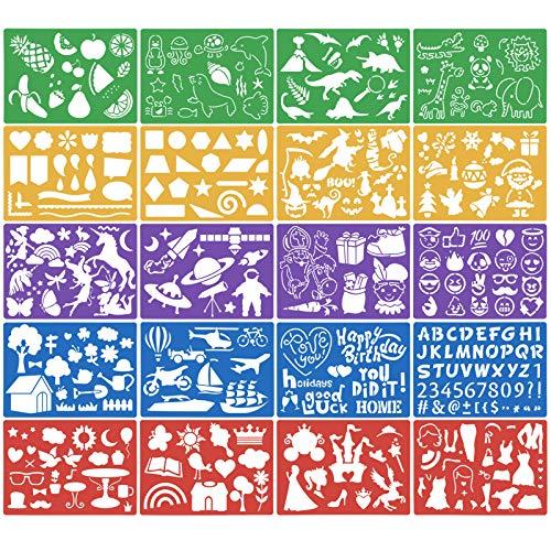 HQdeal 20pcs Schablonen Kinder Malschablonen Set aus Kunststoff Schablonen Weihnachten Zeichenschablonen Muster Stencil Schablonen Wiederverwendbar für Scrapbooking Bullet Journal DIY Geschenkkarten
