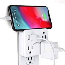 Cruise Power Strip No Surge Protector, OMOTON Travel Wall Tap with 3 Outlets & 2 USB Charging Ports,Travel Cruise Ship Accessories Must Have, Ultra Compact for Travel Home Hotel office-White