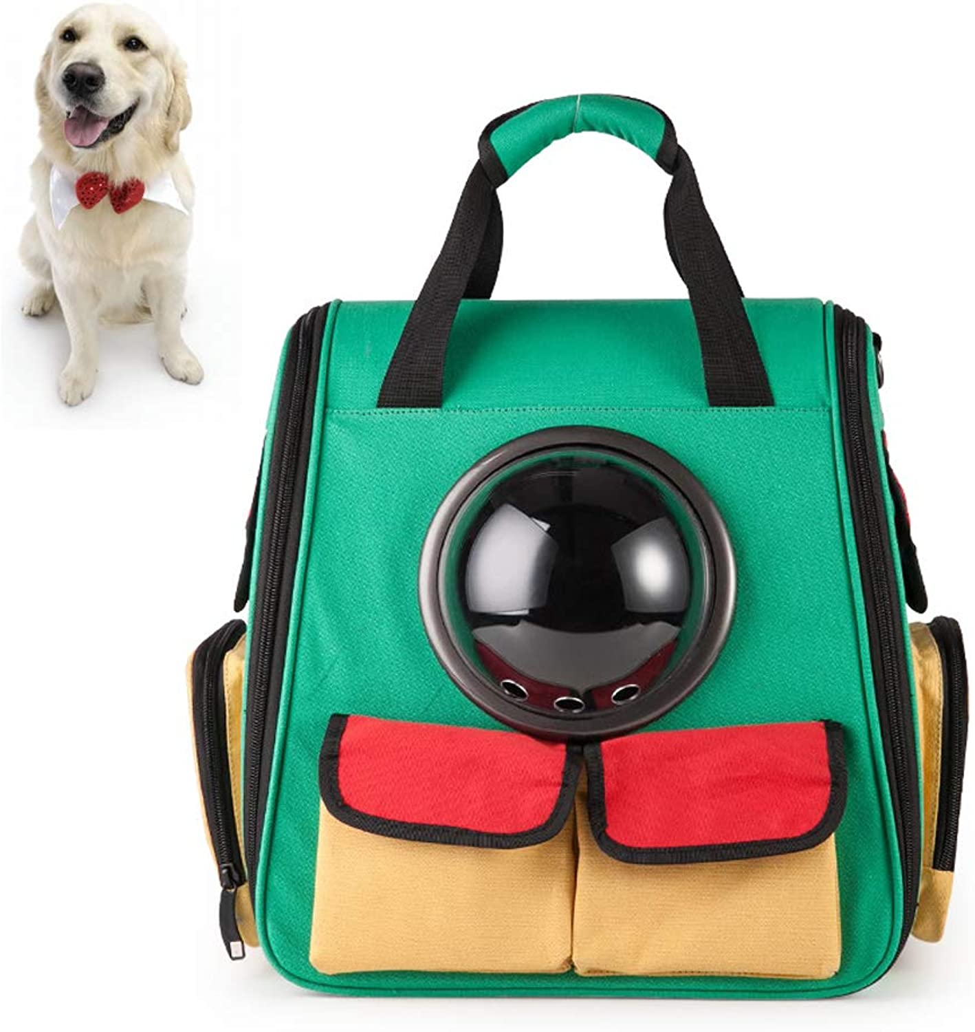 ACLBB Pet travel backpack, canvas space capsule, double pocket breathable waterproof, cat, dog, small animal