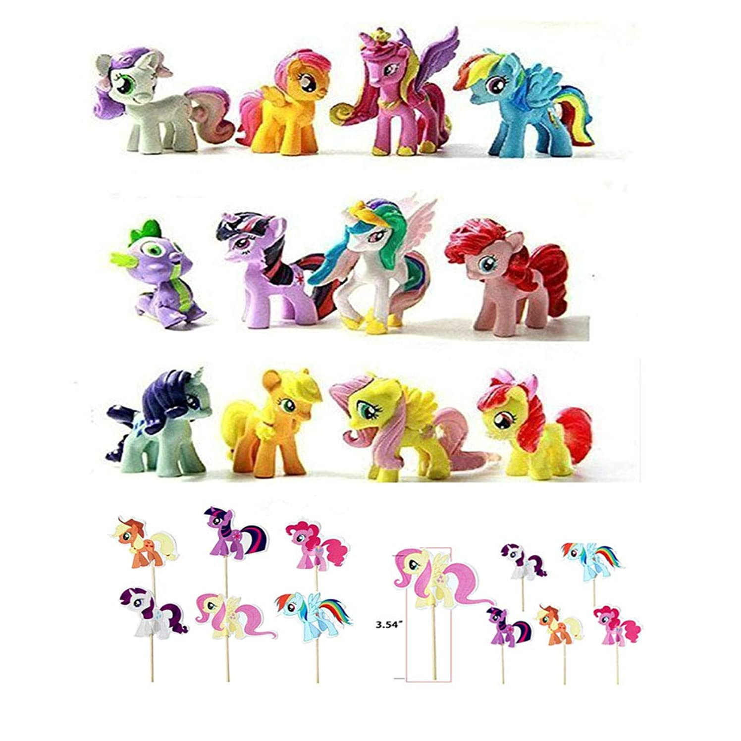 Playoly 12 Pony Dolls Figures with 24 Cupcake Pick, 1.5-2' Tall Pony Figure Toys For Kids Cupcake Cake Toppers
