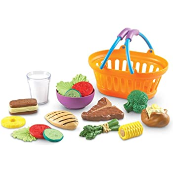 Learning Resources New Sprouts Dinner Foods Basket, Pretend Play Food, 18 Pieces, Ages 18 mos+,Multicolor,7 L x 4-1/2 W in