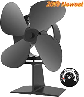 X-cosrack Heat Powered Wood Stove Fan 4 Blade for Wood Log Burner Fireplace Slient Eco-Frienly Fan with Magnetic Thermometer Aluminium Large