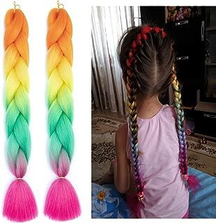 2Pcs/lot Girl Jumbo Braids Long Fishtail Ponytail Rainbow Tone Ombre Kanekalon Hair Extension Synthetic Fiber Twist Braiding Hair