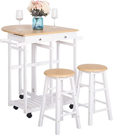 featured product Harper&Bright Designs Utility Top Drop-Leaf with 2 Stools (Walnut)