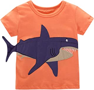 Yoriko Boys Short Sleeve Cotton T Shirts Tops Tee (Orange Whale, 2T)