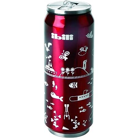 IBILI 796905–Lata ecológica isotérmica de Acero Inoxidable, Rojo/Plata, 7x 7x 20cm, 500ml