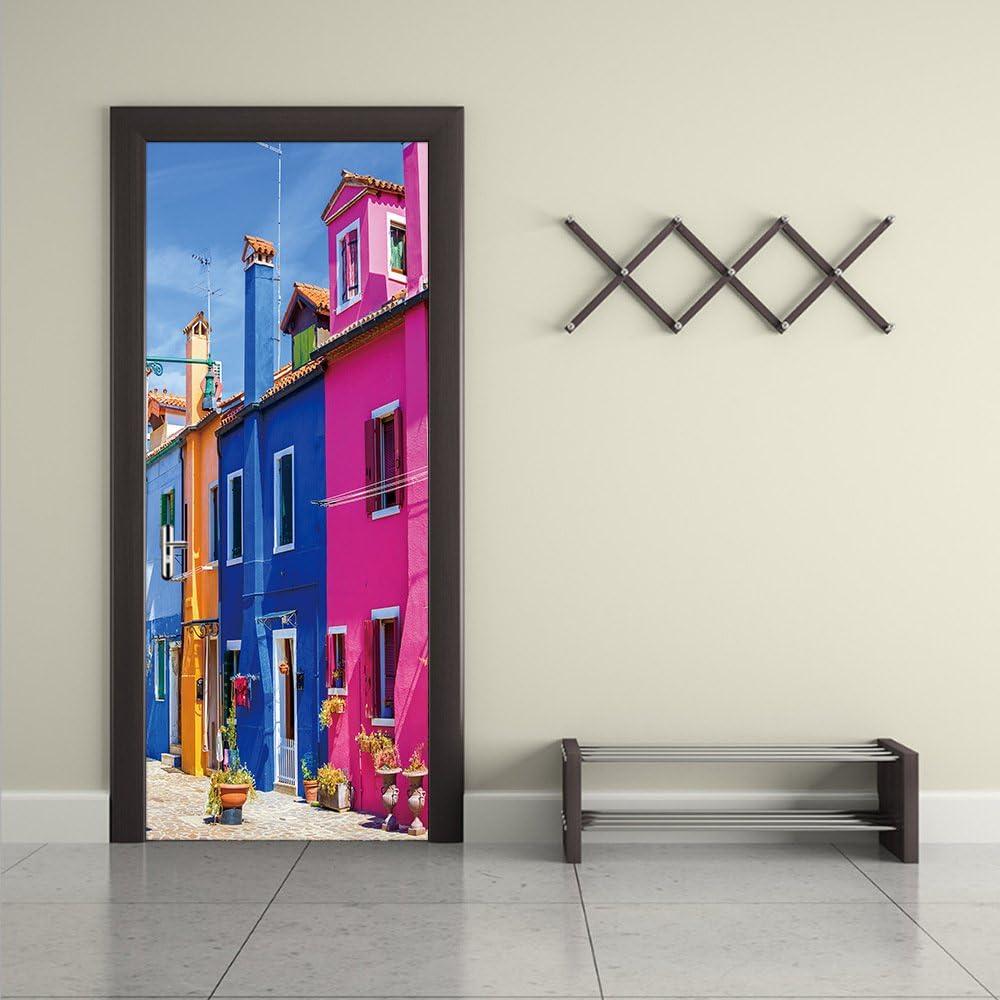 Color : Multi-colored, Size : M 3D Venetian Street Door Sticker 200cm Self-Adhesive Removable Door Art Murals Home Decoration PVC Sticker for Bathroom Bedroom Toilet Kindergarten MT-20
