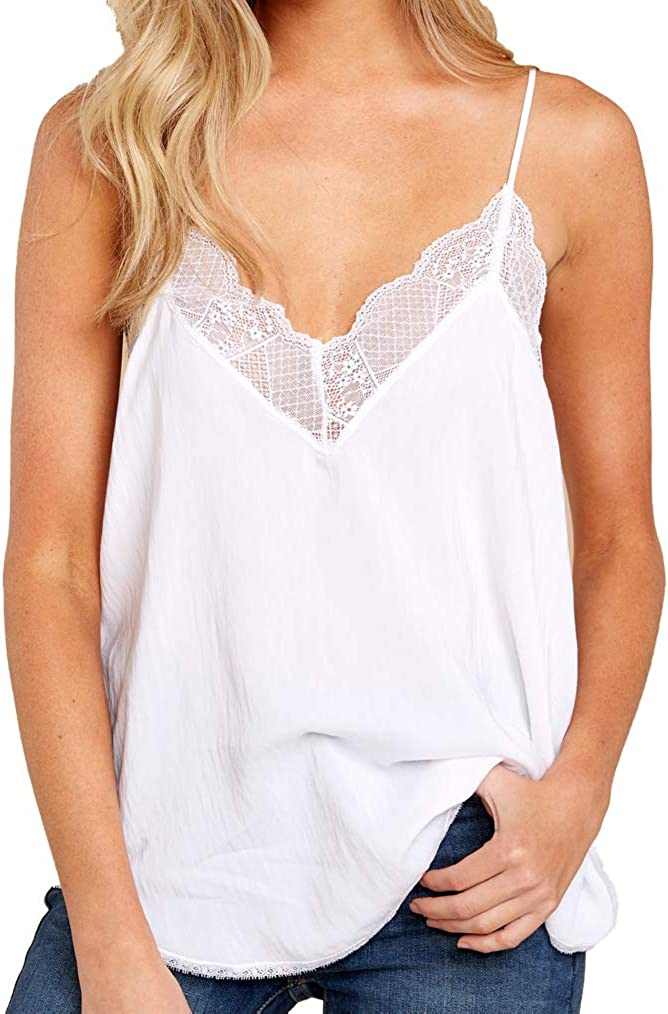 Summer Tank Tops for Womens Lace Cami V Neck Spaghetti Strap Sexy Camis Sleeveless T-Shirt
