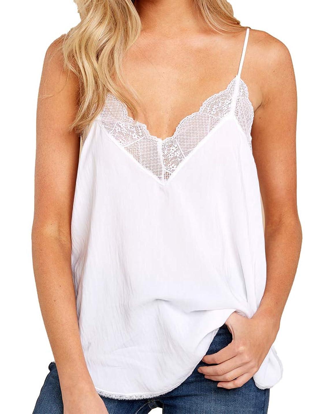 Summer Chiffon Tank Tops for Womens Lace Cami V Neck Spaghetti Strap Sexy Camis Sleeveless T-Shirt