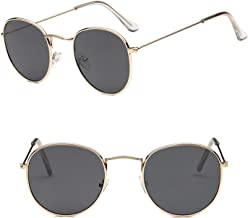 2019 Metal Round Vintage Sunglasses Women Mirror Retro Street Beat Glasses Men Glasses,GoldGray