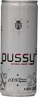 Pussy Natural Energy Drink | Naturally Sweetened and Flavored Drink | Healthy, Vegan and Gluten Free | Natural Caffeine | Great Tasting and Hydrating Energy Drink | 250 Mililliter Cans (Pack of 12)
