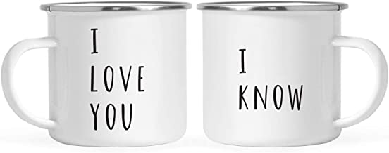 Andaz Press Stainless Steel Campfire Coffee Mugs Gift Set, I Love You, I Know, 2-Pack, Funny Cute Couple Gift Ideas, Metal Enamel Campfire Camp Cup, Includes Gift Bag