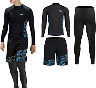ZHPUAT ラッシュガード メンズ 水着 長袖 前開き レギンス サーフパンツ フィットネス 男性 豪華五点セットUVカット温泉 ビーチ 水泳 スイミング 吸汗 速乾