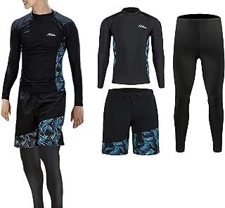 ZHPUAT ラッシュガード メンズ 水着 長袖 前開き レギンス サーフパンツ フィットネス 男性 UVカット温泉 ビーチ 水泳 スイミング 吸汗 速乾