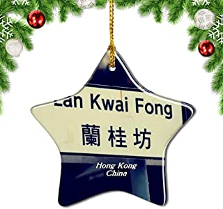Weekino China LAN Kwai Fong Hong Kong Christmas Ornament Tree Decoration Hanging Pendant City Travel Souvenir Collection Gift