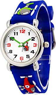 Happy Cherry Unisex Children Kids Rubber Band 3D Airplane Watches Blue