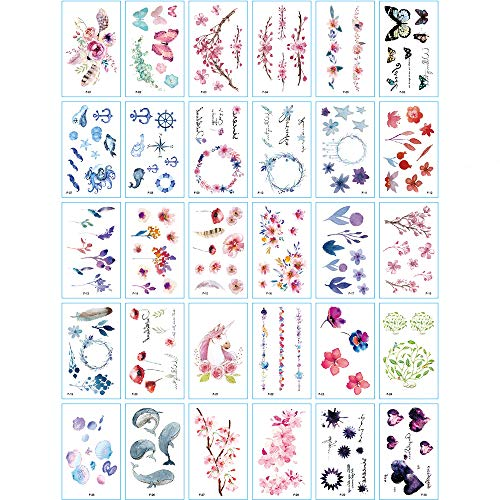 30 Sheets Cute Temporary Tattoos by Yesallwas,Fake Tattoos Stickers for Kids Girls Teens Body Tattoos- watercolor Cherry blossoms feather butterfly garland dolphin horse Tattoo