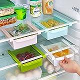HapiLeap Refrigerador Cajón Organizador Cocina Refrigerator Almacenamiento Estante Congelador Estante Titular Soporte Ahorrador de espacio (4Pcs)